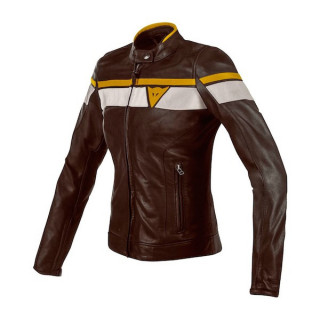 DAINESE BLACKJACK LADY LEATHER JACKET - DARK BROWN WHITE GOLD