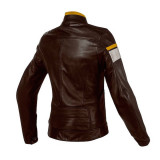 GIACCA DAINESE BLACKJACK LADY LEATHER DARK BROWN WHITE GOLD - RETRO