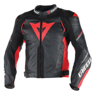 DAINESE SUPER SPEED D1 LEATHER JACKET - BLACK ANTHRACITE RED