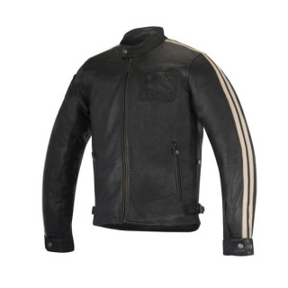 ALPINESTARS CHARLIE LEATHER JACKET - VINTAGE BROWN SAND - BLACK SAND
