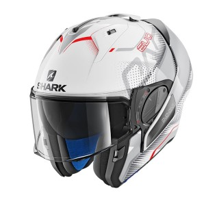 SHARK EVO-ONE 2 KEENSER HELMET - WHITE-SILVER-RED - OPEN