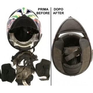 EXAMPLE OF LINER RECONSTRUCTION ON FULL FACE HELMET - BEFORE-AFTER