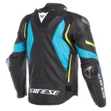 GIACCA DAINESE SUPER SPEED 3 LEATHER JACKET - BLACK-FIRE BLUE-FLUO YELLOW - RETRO