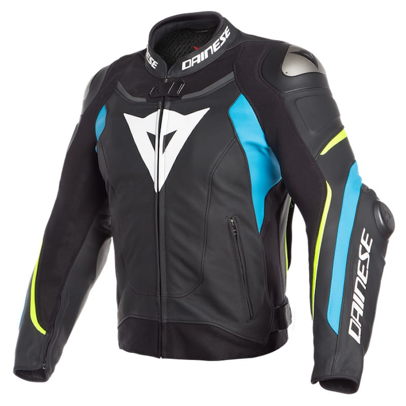GIACCA DAINESE SUPER SPEED 3 LEATHER JACKET - BLACK-FIRE BLUE-FLUO YELLOW