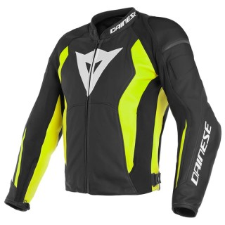 DAINESE NEXUS LEATHER JACKET - BLACK-FLUO YELLOW