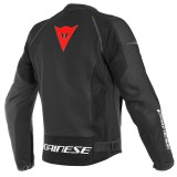 GIACCA DAINESE NEXUS LEATHER JACKET - BLACK-LAVA RED-BLACK - RETRO