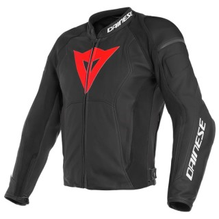 GIACCA DAINESE NEXUS LEATHER JACKET - BLACK-LAVA RED-BLACK