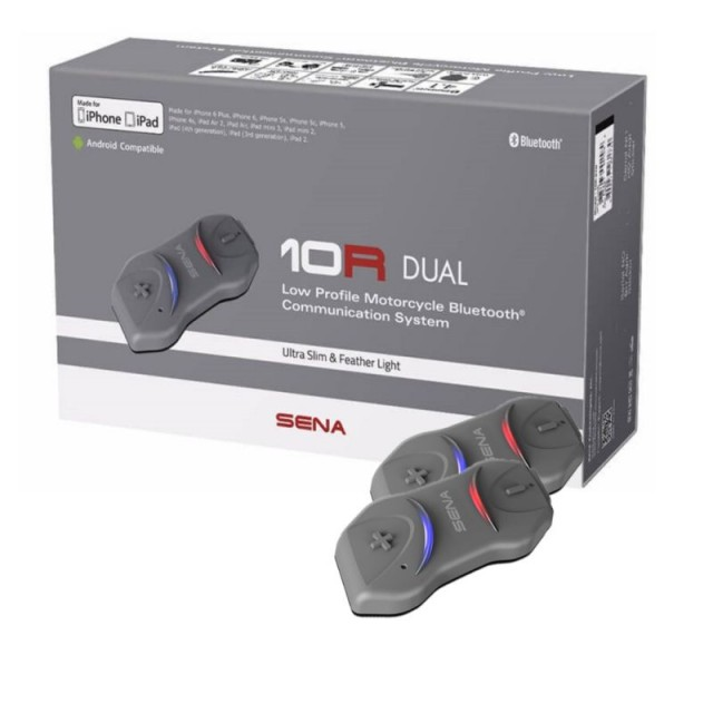Dual Sena 10R-01D Low Profile Motorcycle Bluetooth Communication System .