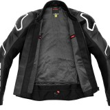 SPIDI EVORIDER 2 LEATHER JACKET BLACK WHITE - OPEN