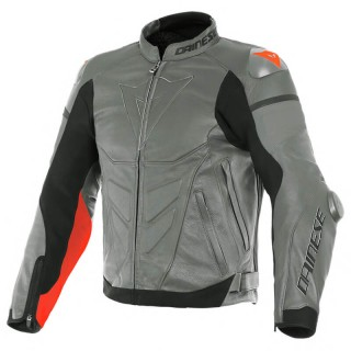 GIACCA PELLE DAINESE SUPER RACE LEATHER JACKET - Charcoal Gray-Fluo Red