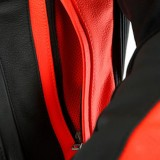 DAINESE SUPER RACE LEATHER JACKET - White-Fluo Red-Black Matt - AIR VENT