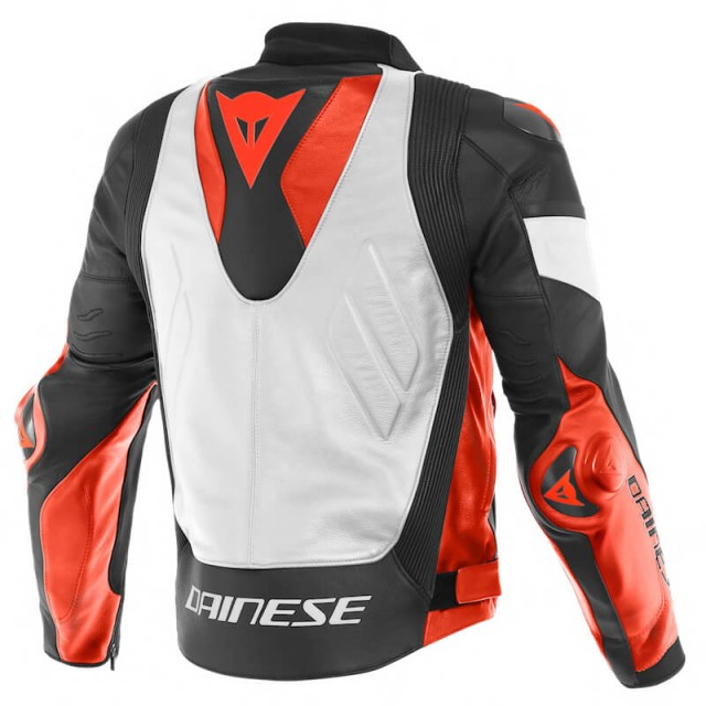DAINESE SUPER RACE LEATHER JACKET - White-Fluo Red-Black Matt - BACK