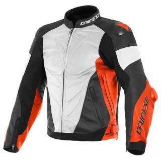 DAINESE SUPER RACE LEATHER JACKET - White-Fluo Red-Black Matt
