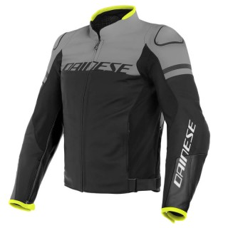 DAINESE AGILE LEATHER JACKET - Black Matt-Charcoal Gray