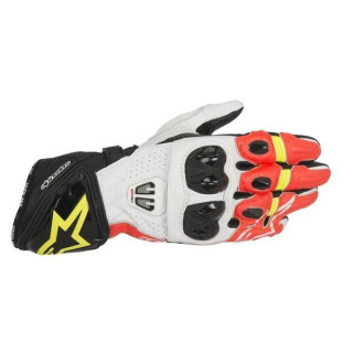 ALPINESTARS GP PRO R2 LEATHER GLOVE - BLACK WHITE RED YELLOW FLUO