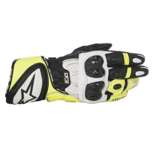 GUANTI ALPINESTARS GP PLUS R LEATHER GLOVE - NERO BIANCO GIALLO FLUO