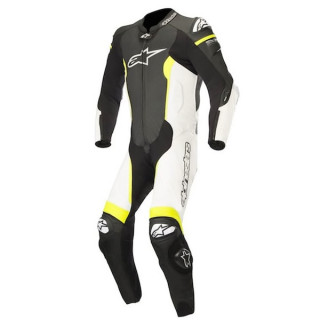 TUTA ALPINESTARS MISSILE TECH AIR LEATHER SUIT - BLACK WHITE YELLOW FLUO