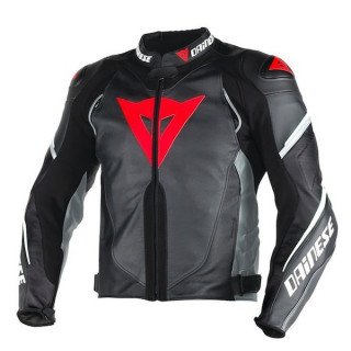 DAINESE SUPER SPEED D1 PERFORATED LEATHER JACKET - BLACK ANTHRACITE WHITE