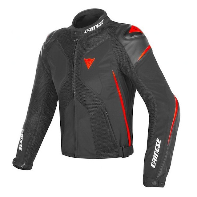 DAINESE SUPER RIDER D-DRY JACKET - BLACK RED FLUO