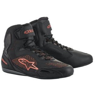 ALPINESTARS FASTER-3 RIDEKNIT SHOES - BLACK RED FLUO
