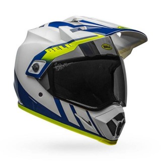 BELL MX-9 ADVENTURE MIPS DASH HELMET GLOSS WHITE/BLUE/HI-VIZ