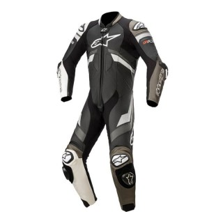 ALPINESTARS GP PLUS V3 LEATHER SUIT - BLACK WHITE METALLIC GRAY