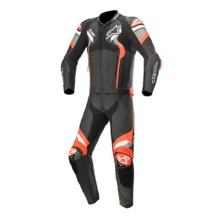 TUTA DIVISA ALPINESTARS ATEM v4 2PC LEATHER SUIT - BLACK MID GRAY RED FLUO