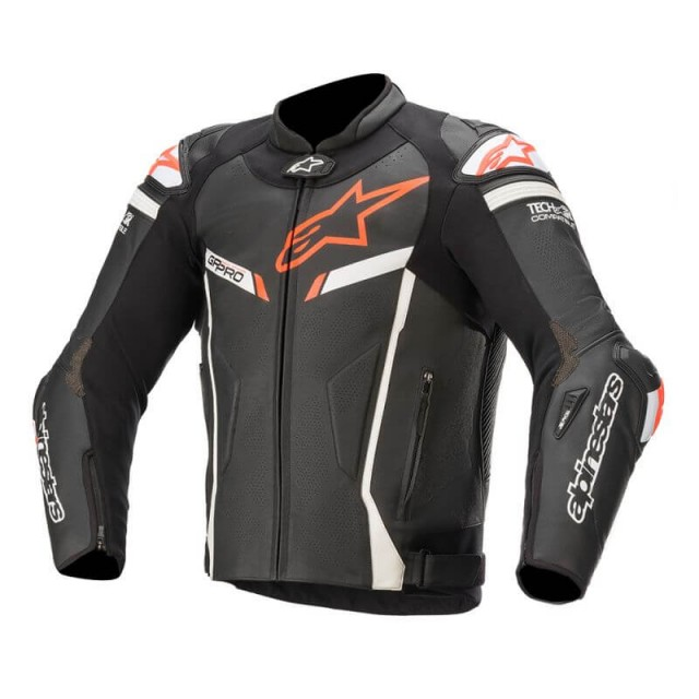 ALPINESTARS GP PRO V2 LEATHER JACKET TECH AIR COMPATIBLE - BLACK WHITE RED FLUO
