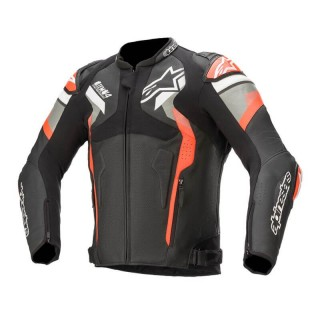 GIACCA ALPINESTARS ATEM v4 LEATHER JACKET - BLACK MID GRAY RED FLUO