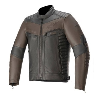 ALPINESTARS BURSTUN LEATHER JACKET - BROWN BLACK