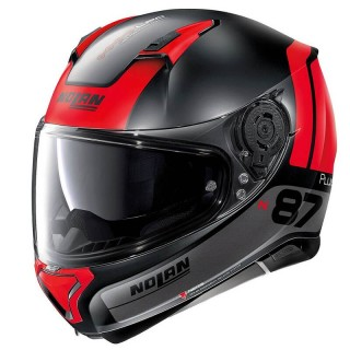 NOLAN N87 PLUS DISTINCTIVE N-COM HELMET - FLAT BLACK RED