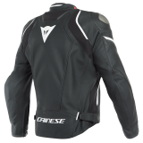 DAINESE RACING 3 D-AIR LEATHER JACKET - BLACK BLACK WHITE - BACK