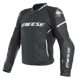 DAINESE RACING 3 D-AIR LEATHER JACKET - BLACK BLACK WHITE