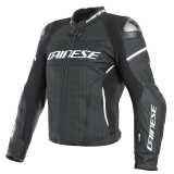 DAINESE RACING 3 D-AIR PERFORATED LEATHER JACKET - BLACK BLACK WHITE