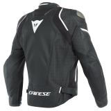 DAINESE RACING 3 D-AIR PERFORATED LEATHER JACKET - BLACK BLACK WHITE - BACK