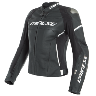 DAINESE RACING 3 D-AIR LADY LEATHER JACKET - BLACK BLACK WHITE