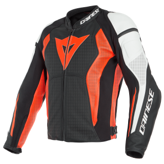 DAINESE NEXUS PERFORATD LEATHER JACKET - BLACK WHITE FLUO RED