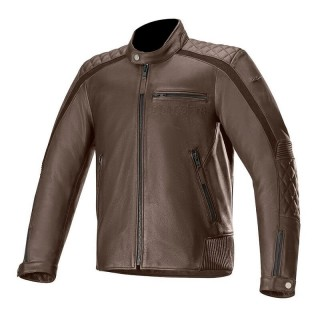 GIACCA ALPINESTARS HOXTON V2 LEATHER JACKET - BROWN