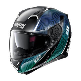 NOLAN N87 SIOUX N-COM HELMET - FLAT BLACK BLUE