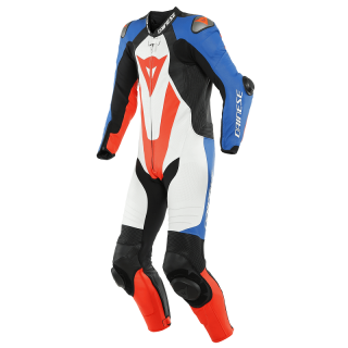 TUTA DAINESE LAGUNA SECA 5 1PC PERF LEATHER SUIT - WHITE LIGHT BLUE BLACK FLUO RED