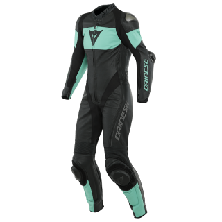 TUTA DAINESE IMATRA 1PC PERFORATED LADY LEATHER - BLACK ACQUA-GREEN