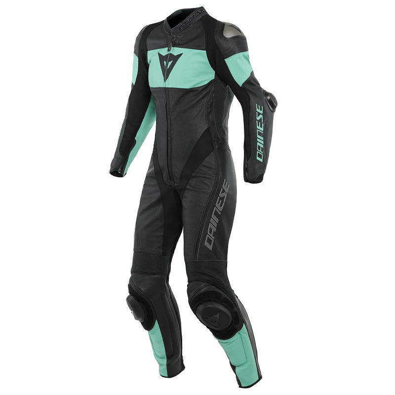 DAINESE IMATRA 1PC PERFORATED LADY LEATHER SUIT - BLACK ACQUA-GREEN