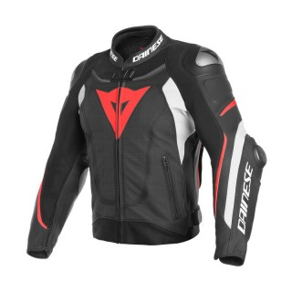 DAINESE SUPER SPEED 3 PERFORATED LEATHER JACKET - BLACK WHITE FLUO-RED