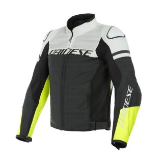 DAINESE AGILE PERFORATED LEATHER JACKET - BLACK-MATTE WHITE FLUO-YELLOW