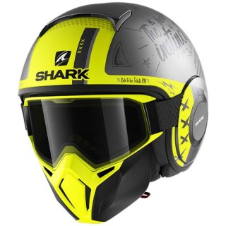 CASCO SHARK STREET-DRAK TRIBUTE RM MAT - ARGENTO ANTRACITE GIALLO