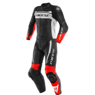 DAINESE MISTEL 2 PCS LEATHER SUIT - Black Matt-White-Lava Red