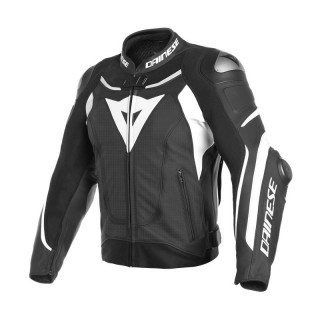 GIACCA DAINESE SUPER SPEED 3 PERFORATED LEATHER JACKET - BLACK WHITE