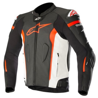 GIACCA ALPINESTARS MISSILE TECH AIR LEATHER JACKET - BLACK WHITE RED FLUO