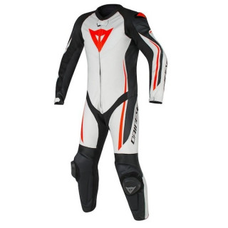 DAINESE ASSEN 1 PC PERF. SUIT - WHITE BLACK RED FLUO