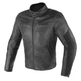 GIACCA DAINESE STRIPES D1 LEATHER - BLACK